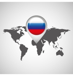 World map with pointer flag russian vector
