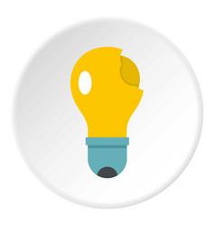 broken yellow lightbulb icon circle vector image vector image