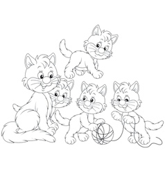 Cat with kittens vector