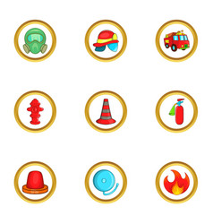 firefighters icon set cartoon style vector image