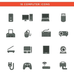 Gray computers device icons vector image vector image
