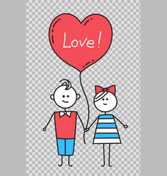 guy and girl holding hands lovers with heartlove vector image