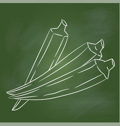 hand drawing lady finger on green board - vector image