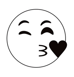 kiss love emoticon funny thin line vector image vector image
