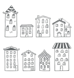 Set of houses in doodle style vector image