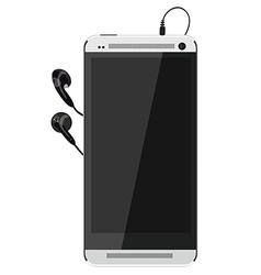 Smartphone and earphones vector image vector image