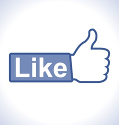 Thumb up hand with like text on button vector image vector image