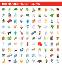 100 household icons set isometric 3d style vector
