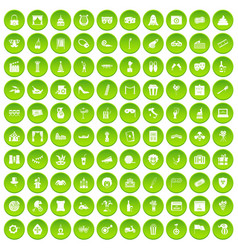 100 mask icons set green circle vector