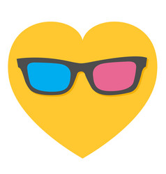 3d glasses icon heart shape i love movie cinema vector image