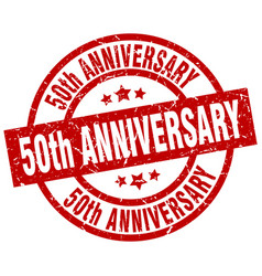 50th anniversary round red grunge stamp vector image