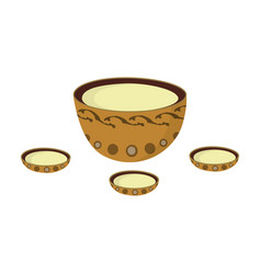 A plate with three cups and mongolian ornaments vector