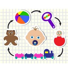 baby and toys vector image