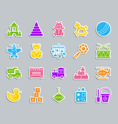 Baby toy patch sticker icons set vector