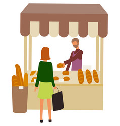 Bakery shop marketplace with baked bread and buns vector