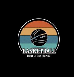 Basketball enjoy life jumping color cream vector