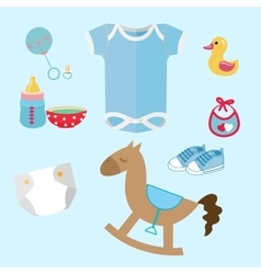 Bastuff and toys icon set collection romper vector