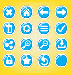 blue ui game -cute buttons for games vector image