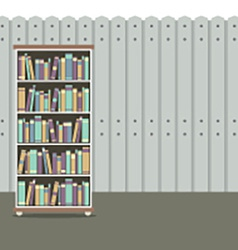 Bookcase With Wooden Background Vintage Style vector