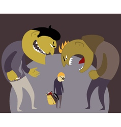 Bullies and a kid vector image