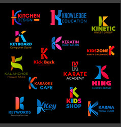 business icons and company symbols letter k vector image