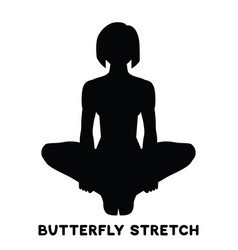 Butterfly stretch sport exersice silhouettes of vector