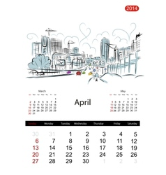 Calendar 2014 april Streets of the city sketch for vector image