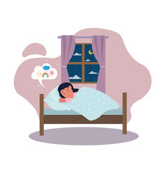 calm little cute girl is sleeping in bed vector image
