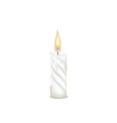 candle flame burning on white background vector image