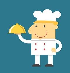 Cartoon Chef holding gold tray vector image