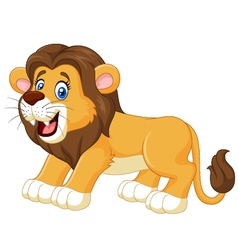 Cartoon happy lion isolated on white background vector image