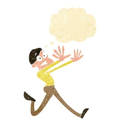 cartoon man running away with thought bubble vector image