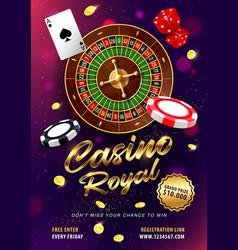Casino roulette win realistic banner vector