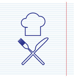 chef with knife and fork sign navy line vector image