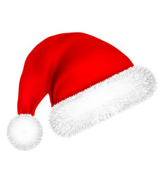 Christmas santa claus hat with fur new year vector