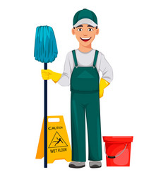 Cleaning service concept cheerful cartoon vector