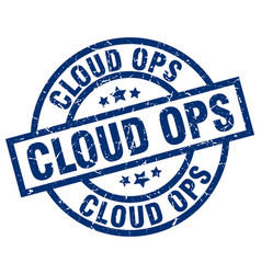 cloud ops blue round grunge stamp vector image