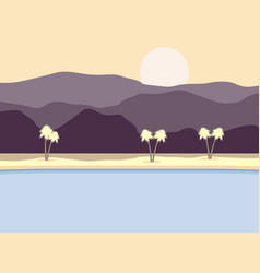 Coast with palm trees and mountains in background vector