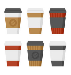 coffee cup set on white background flat style vector image