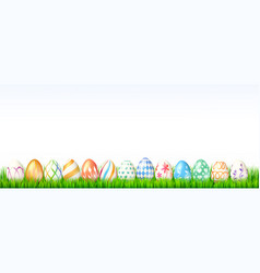 collection easter eggs on white background vector image