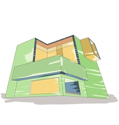 Color sketch of house vector