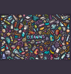 colorful doodle cartoon set cleaning vector image