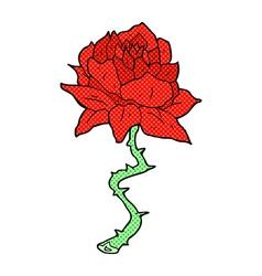 Comic cartoon tattoo rose vector