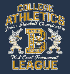 cute cartoon rabbit college baseball league vector image