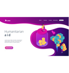 Donation isometric 3d landing page vector