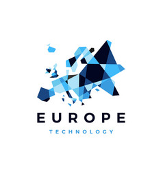europe technology connection geometric polygonal vector image