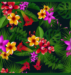 Exotic summer tropical flowers seamless vector