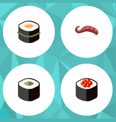 Flat icon sashimi set of salmon rolls japanese vector