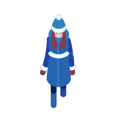 Flat sketch woman winter clothing happy vector