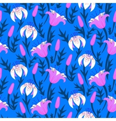 Floral pattern with tulips and lilies vector